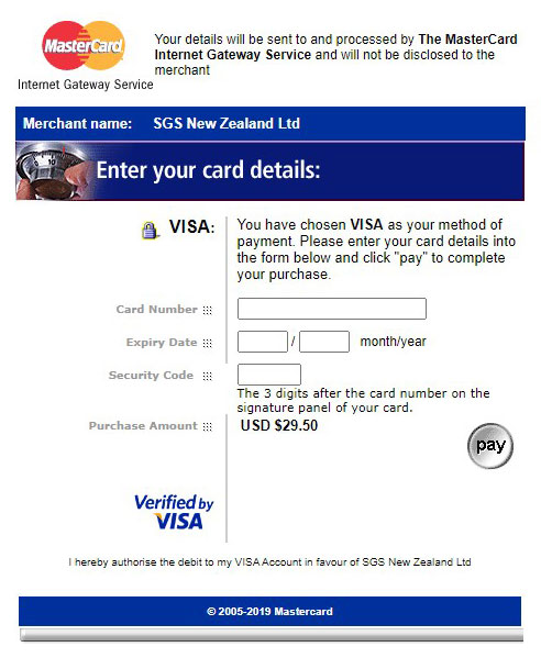 SGS credit card information